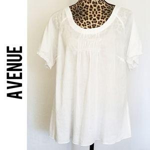 🎀 3/$25 White Cotton Short Sleeve Peasant Blouse